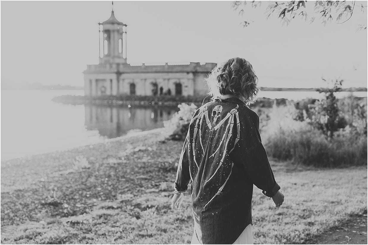 Lady walking in front of Normanton church wearing a custom made shirt