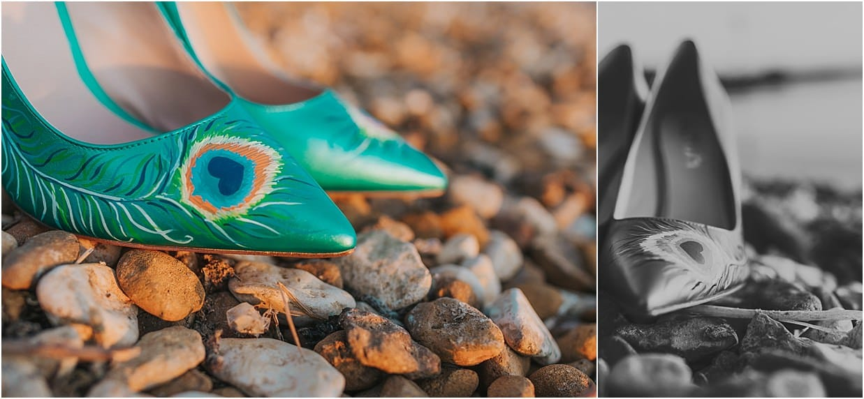 Two custom pairs of shoes painted with peacock feathers